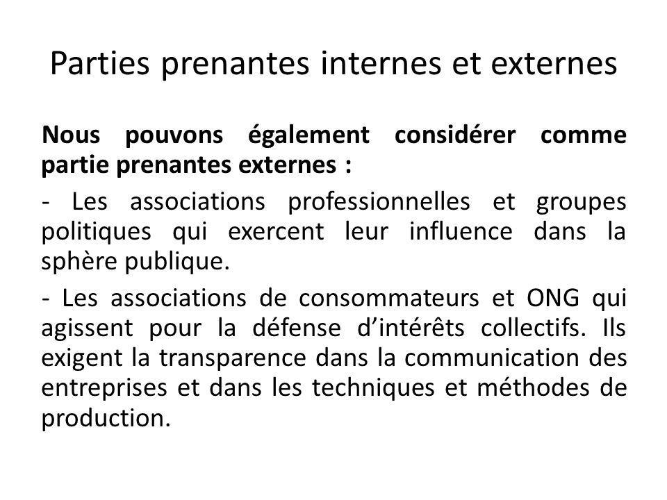 Parties prenantes internes et externes Nous pouvons également considérer comme partie prenantes externes : - Les associations professionnelles et grou