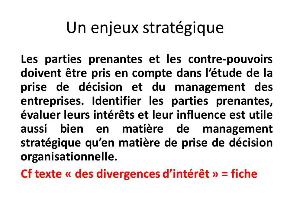 Un enjeux stratégique Les parties prenantes et les contre-pouvoirs doivent être pris en compte dans létude de la prise de décision et du management de