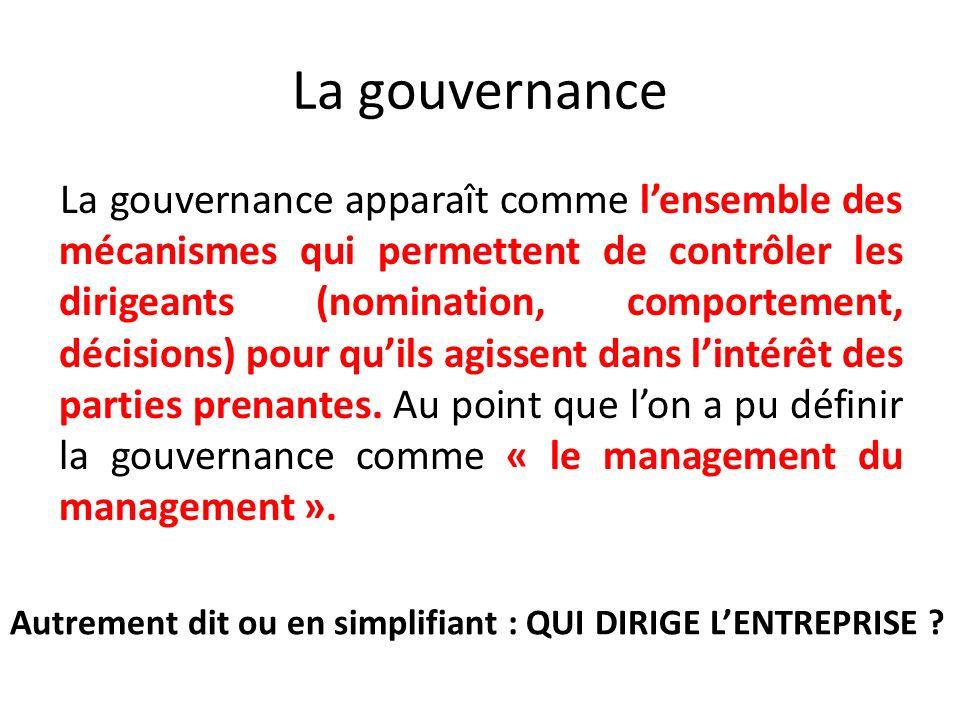 La gouvernance La gouvernance apparaît comme lensemble des mécanismes qui permettent de contrôler les dirigeants (nomination, comportement, décisions)