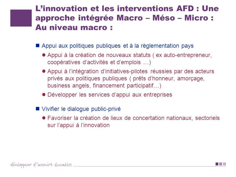 Linnovation et les interventions AFD : Une approche intégrée Macro – Méso – Micro : Au niveau macro : Appui aux politiques publiques et à la règlement