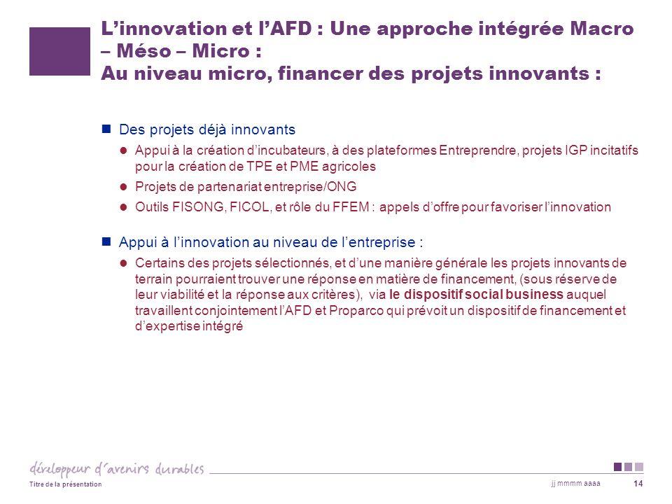 Linnovation et lAFD : Une approche intégrée Macro – Méso – Micro : Au niveau micro, financer des projets innovants : Des projets déjà innovants Appui