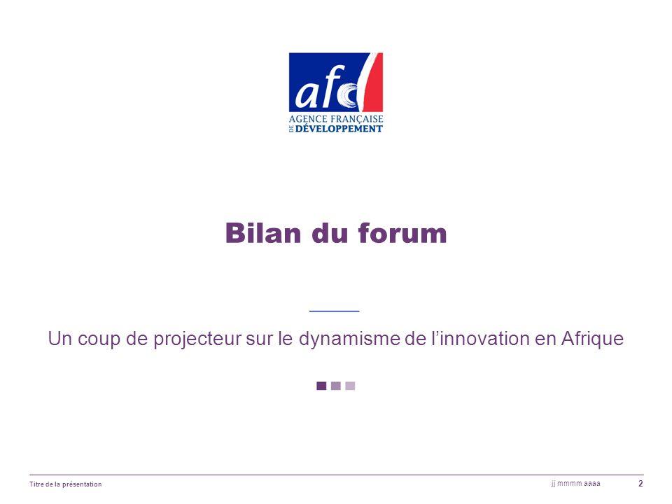 jj mmmm aaaa Titre de la présentation 2 Bilan du forum Un coup de projecteur sur le dynamisme de linnovation en Afrique