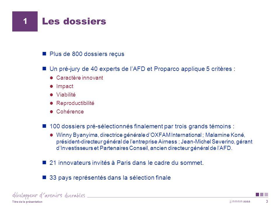 jj mmmm aaaa Titre de la présentation 3 Les dossiers Plus de 800 dossiers reçus Un pré-jury de 40 experts de lAFD et Proparco applique 5 critères : Ca