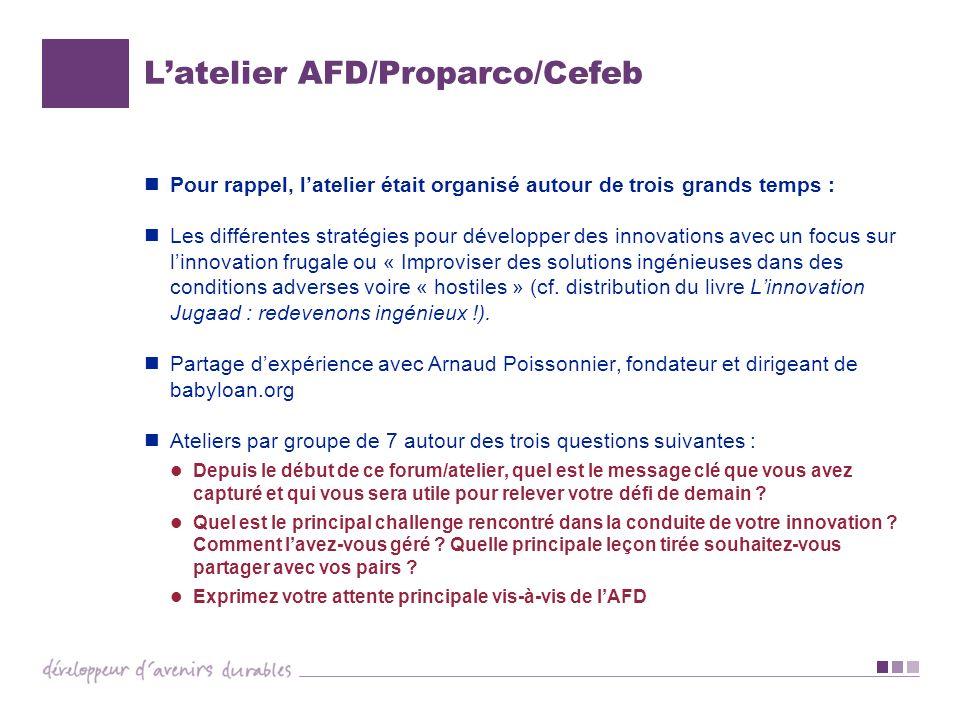 Latelier AFD/Proparco/Cefeb Pour rappel, latelier était organisé autour de trois grands temps : Les différentes stratégies pour développer des innovat