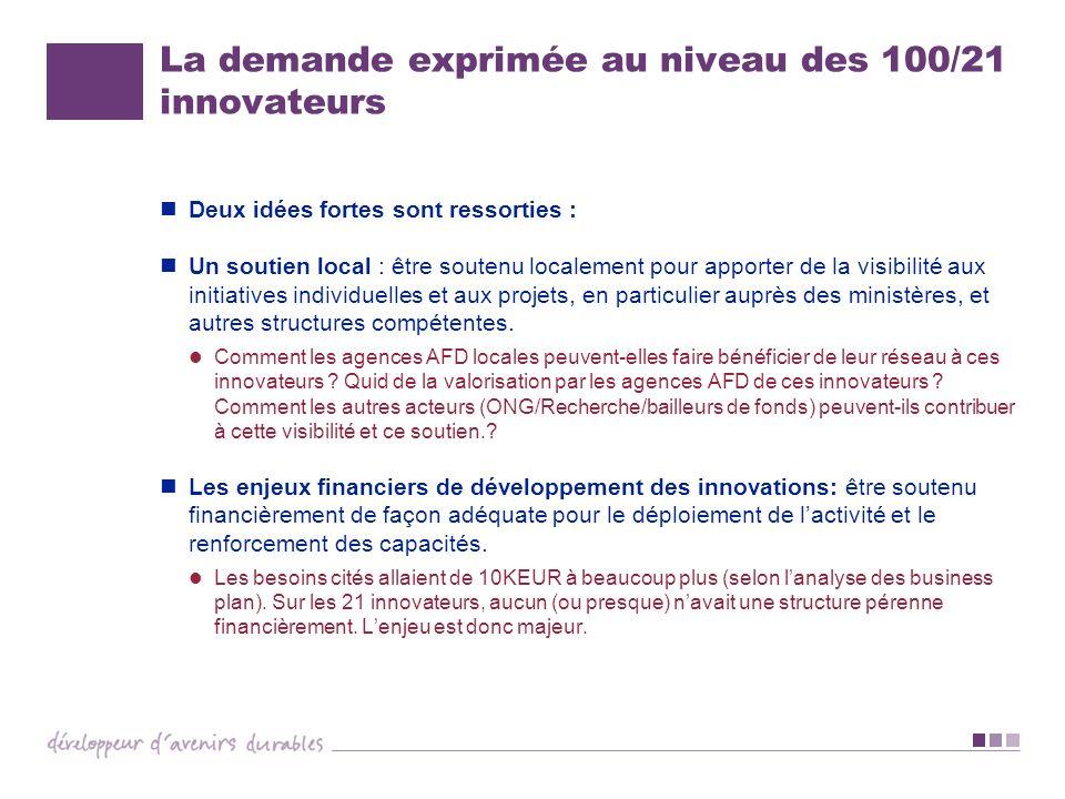La demande exprimée au niveau des 100/21 innovateurs Deux idées fortes sont ressorties : Un soutien local : être soutenu localement pour apporter de l