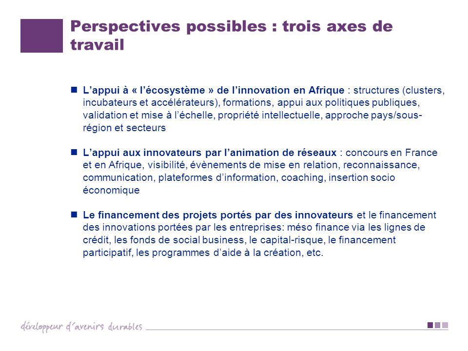 Perspectives possibles : trois axes de travail Lappui à « lécosystème » de linnovation en Afrique : structures (clusters, incubateurs et accélérateurs