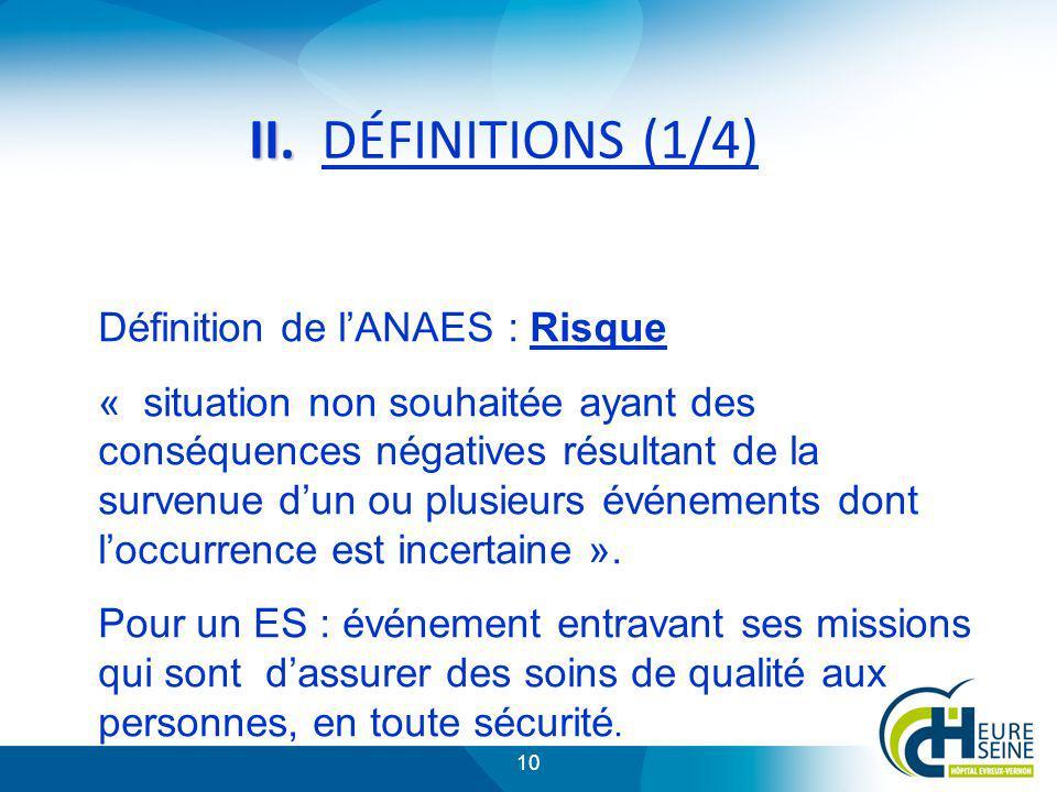 10 II. II. DÉFINITIONS (1/4) Définition de lANAES : Risque « situation non souhaitée ayant des conséquences négatives résultant de la survenue dun ou