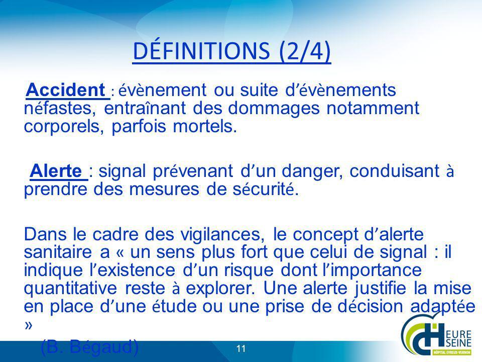 11 DÉFINITIONS (2/4) Accident : é v è nement ou suite d é v è nements n é fastes, entra î nant des dommages notamment corporels, parfois mortels. Aler