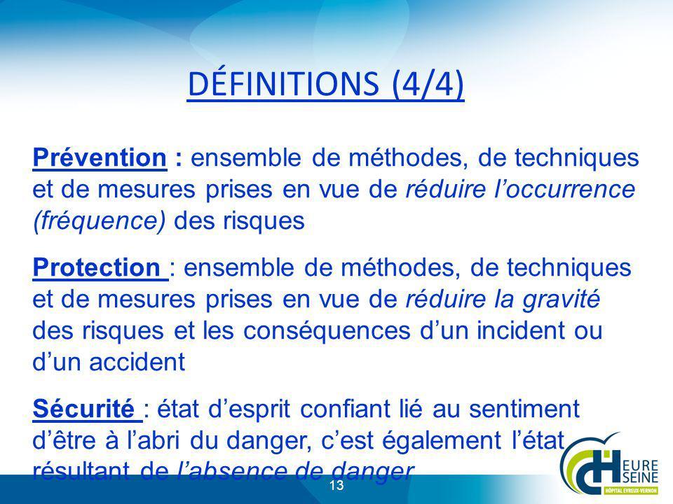 13 DÉFINITIONS (4/4) Prévention : ensemble de méthodes, de techniques et de mesures prises en vue de réduire loccurrence (fréquence) des risques Prote