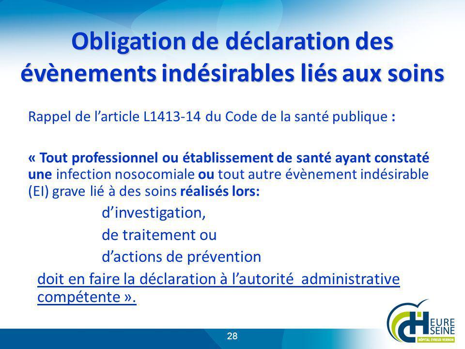 28 Obligation de déclaration des évènements indésirables liés aux soins Rappel de larticle L1413-14 du Code de la santé publique : « Tout professionne