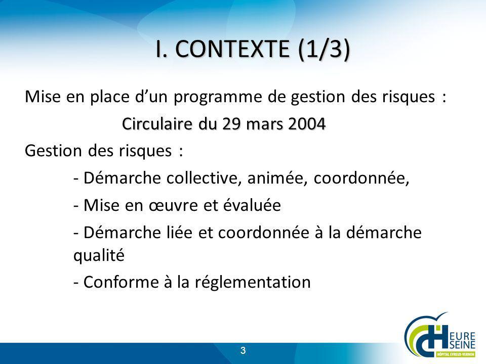 3 Mise en place dun programme de gestion des risques : Circulaire du 29 mars 2004 Gestion des risques : - Démarche collective, animée, coordonnée, - M