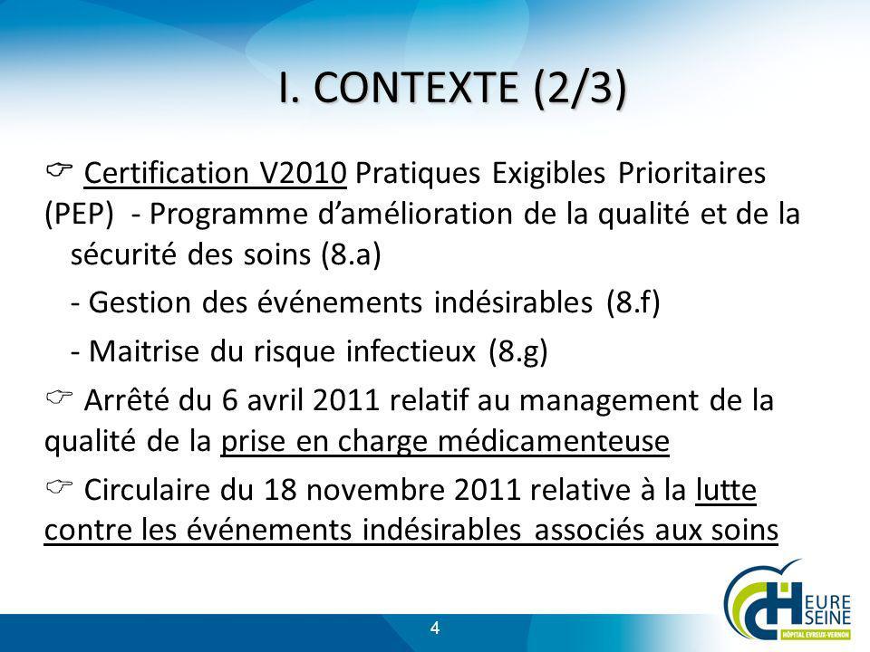 4 Certification V2010 Pratiques Exigibles Prioritaires (PEP) - Programme damélioration de la qualité et de la sécurité des soins (8.a) - Gestion des é