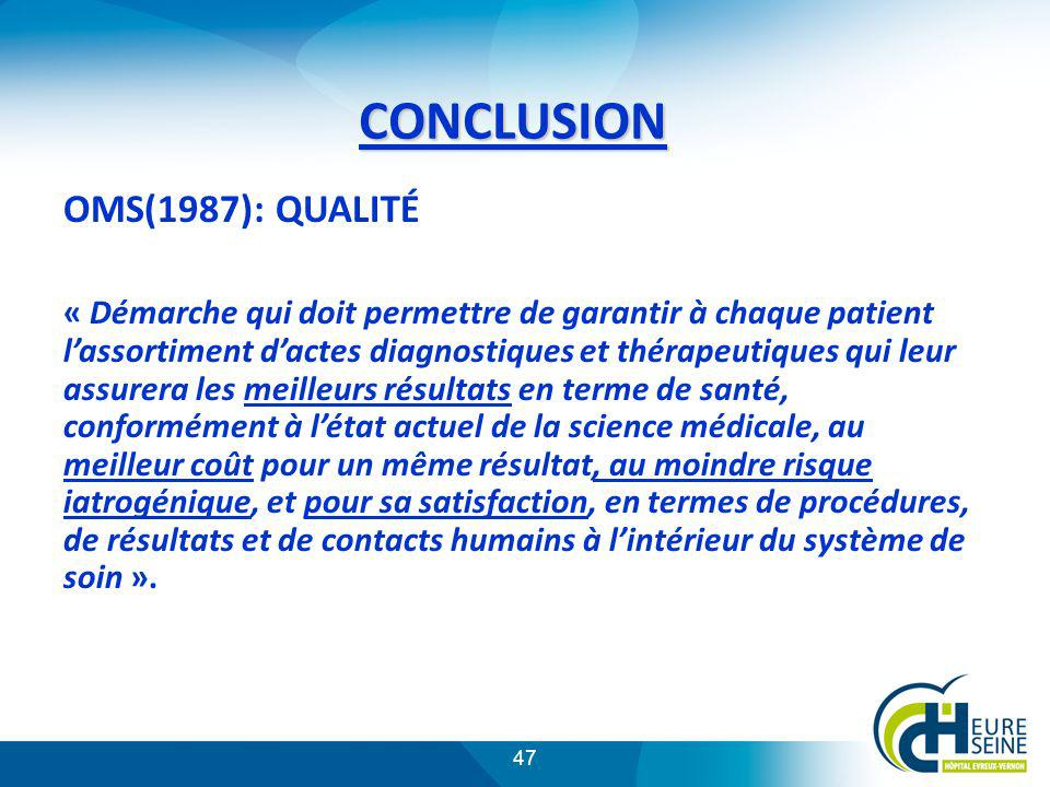 47 CONCLUSION OMS(1987): QUALITÉ « Démarche qui doit permettre de garantir à chaque patient lassortiment dactes diagnostiques et thérapeutiques qui le