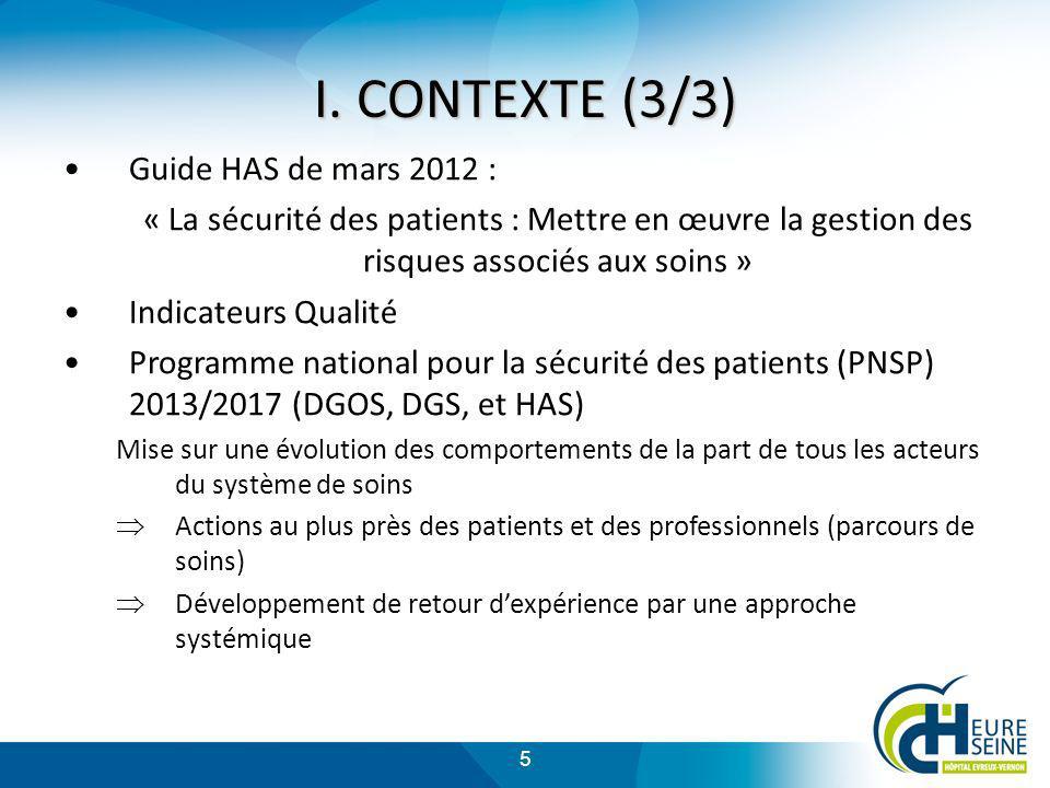 5 I. CONTEXTE (3/3) Guide HAS de mars 2012 : « La sécurité des patients : Mettre en œuvre la gestion des risques associés aux soins » Indicateurs Qual