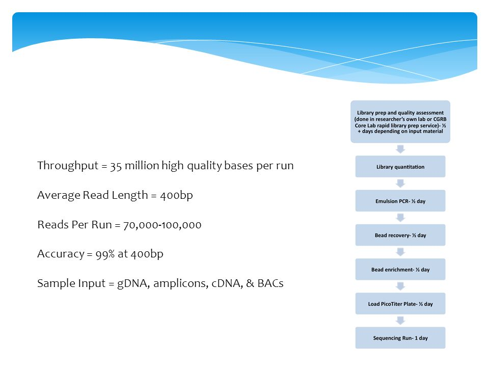 Throughput = 35 million high quality bases per run Average Read Length = 400bp Reads Per Run = 70,000-100,000 Accuracy = 99% at 400bp Sample Input = gDNA, amplicons, cDNA, & BACs