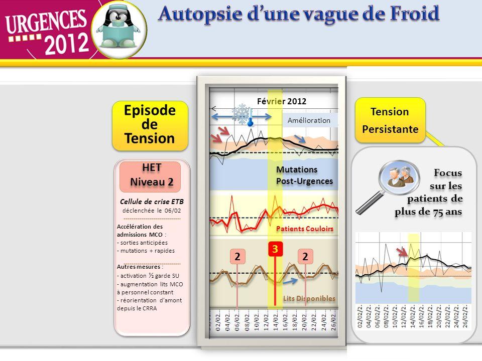 Janvier 2012 Patients Couloirs Lits Disponibles Mutations Février 2012 HET Niveau 2 HET Niveau 2 Cellule de crise ETB déclenchée le 06/02 Accélération