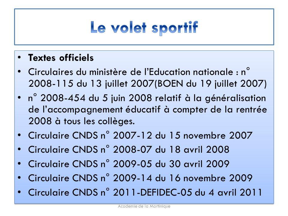 Textes officiels Circulaires du ministère de lEducation nationale : n° 2008-115 du 13 juillet 2007(BOEN du 19 juillet 2007) n° 2008-454 du 5 juin 2008 relatif à la généralisation de laccompagnement éducatif à compter de la rentrée 2008 à tous les collèges.