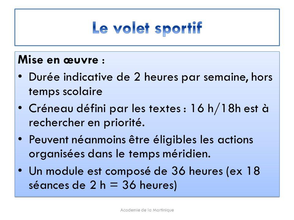 Mise en œuvre : Durée indicative de 2 heures par semaine, hors temps scolaire Créneau défini par les textes : 16 h/18h est à rechercher en priorité.