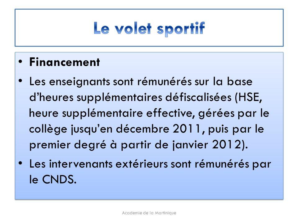 Financement Les enseignants sont rémunérés sur la base dheures supplémentaires défiscalisées (HSE, heure supplémentaire effective, gérées par le collège jusquen décembre 2011, puis par le premier degré à partir de janvier 2012).