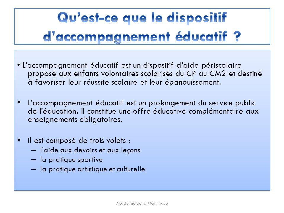 Laccompagnement éducatif est un dispositif daide périscolaire proposé aux enfants volontaires scolarisés du CP au CM2 et destiné à favoriser leur réussite scolaire et leur épanouissement.
