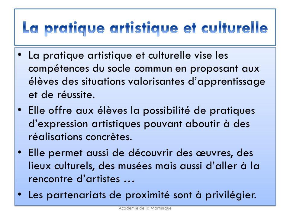 La pratique artistique et culturelle vise les compétences du socle commun en proposant aux élèves des situations valorisantes dapprentissage et de réussite.