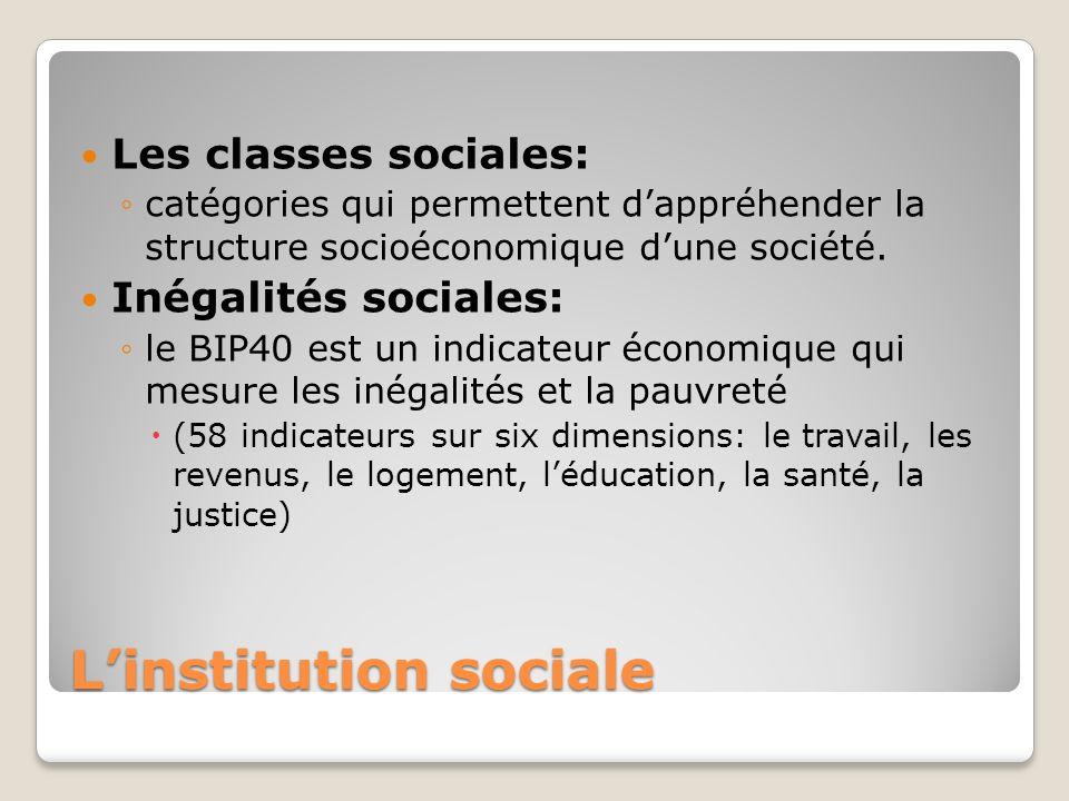 Linstitution sociale Les classes sociales: catégories qui permettent dappréhender la structure socioéconomique dune société. Inégalités sociales: le B