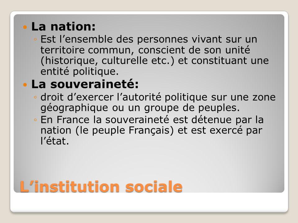 Linstitution sociale La nation: Est lensemble des personnes vivant sur un territoire commun, conscient de son unité (historique, culturelle etc.) et c