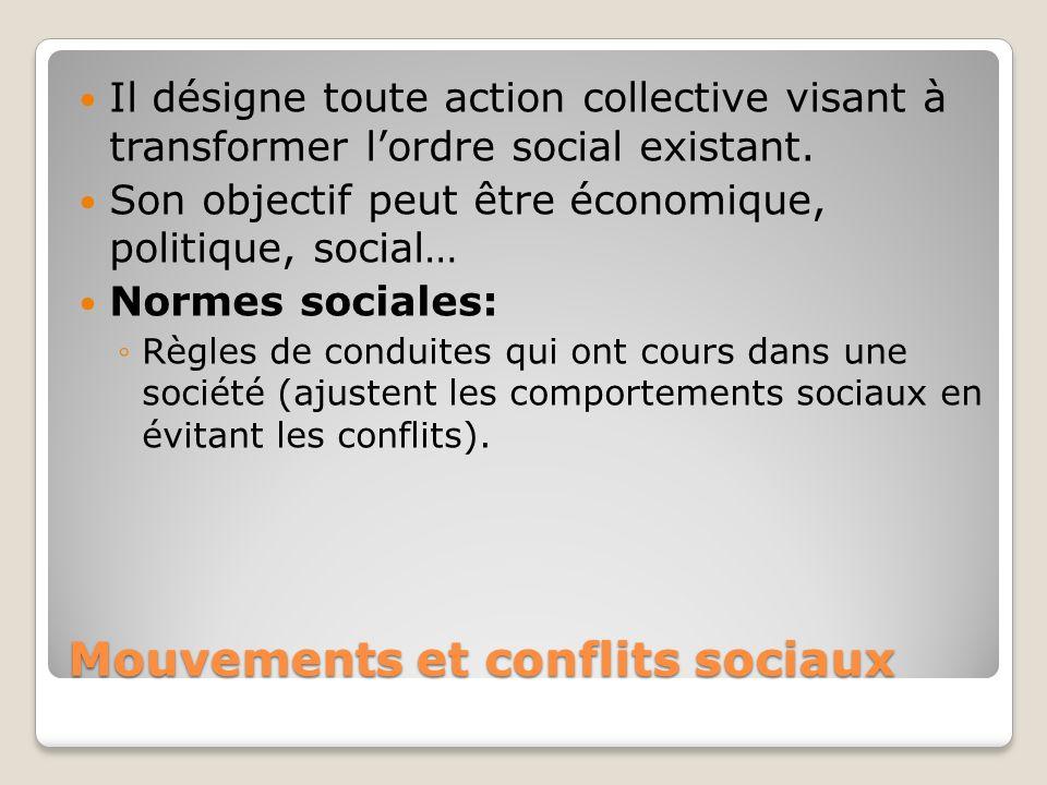 Mouvements et conflits sociaux Il désigne toute action collective visant à transformer lordre social existant. Son objectif peut être économique, poli