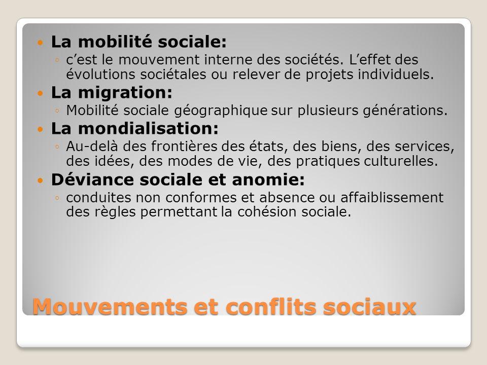 Mouvements et conflits sociaux La mobilité sociale: cest le mouvement interne des sociétés. Leffet des évolutions sociétales ou relever de projets ind