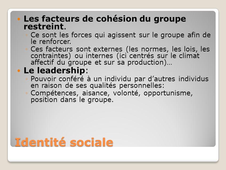 Identité sociale Les facteurs de cohésion du groupe restreint. Ce sont les forces qui agissent sur le groupe afin de le renforcer. Ces facteurs sont e