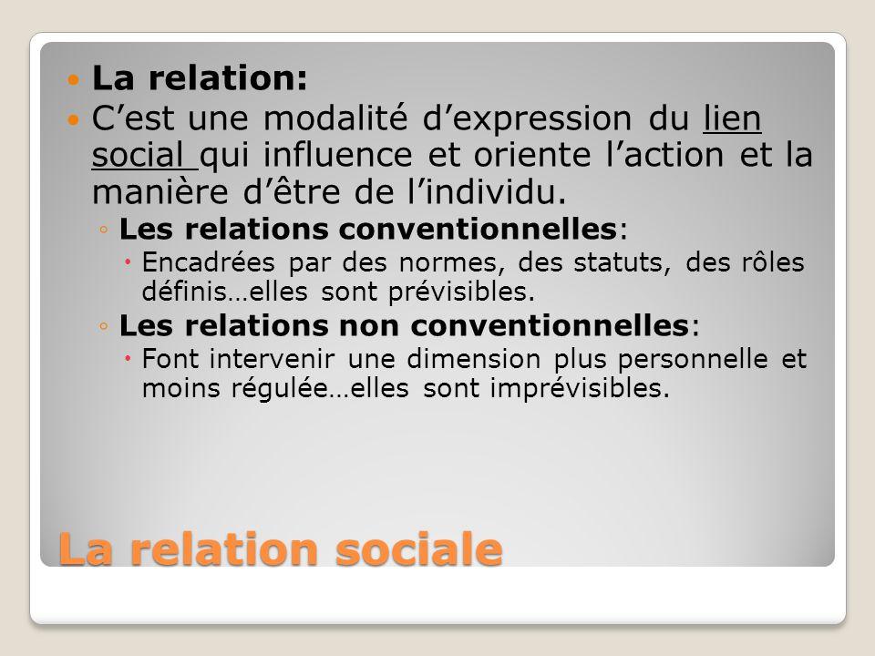 La relation sociale La relation: Cest une modalité dexpression du lien social qui influence et oriente laction et la manière dêtre de lindividu. Les r
