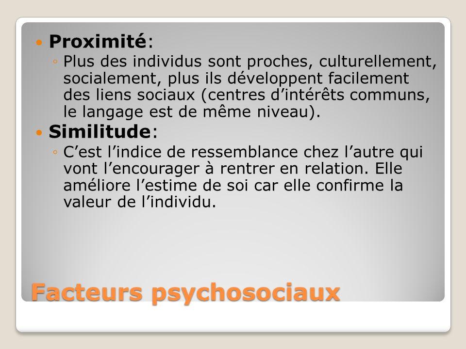 Facteurs psychosociaux Proximité: Plus des individus sont proches, culturellement, socialement, plus ils développent facilement des liens sociaux (cen