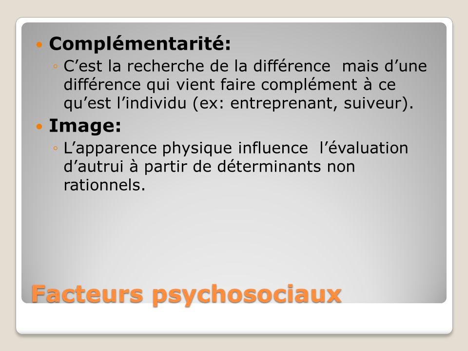 Facteurs psychosociaux Complémentarité: Cest la recherche de la différence mais dune différence qui vient faire complément à ce quest lindividu (ex: e
