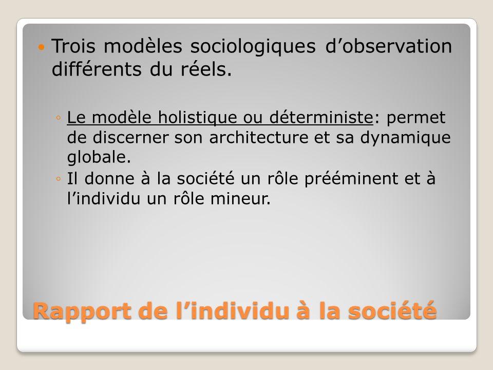 Rapport de lindividu à la société Trois modèles sociologiques dobservation différents du réels. Le modèle holistique ou déterministe: permet de discer