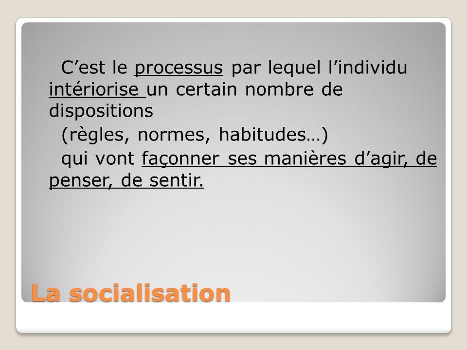 La socialisation Cest le processus par lequel lindividu intériorise un certain nombre de dispositions (règles, normes, habitudes…) qui vont façonner s