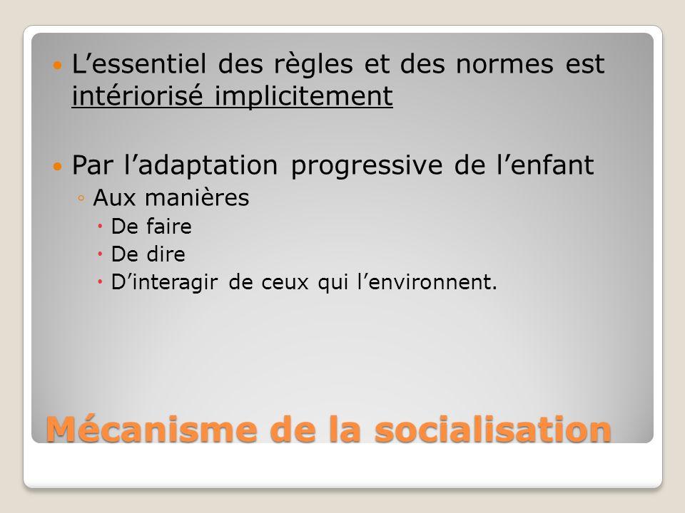 Mécanisme de la socialisation Lessentiel des règles et des normes est intériorisé implicitement Par ladaptation progressive de lenfant Aux manières De