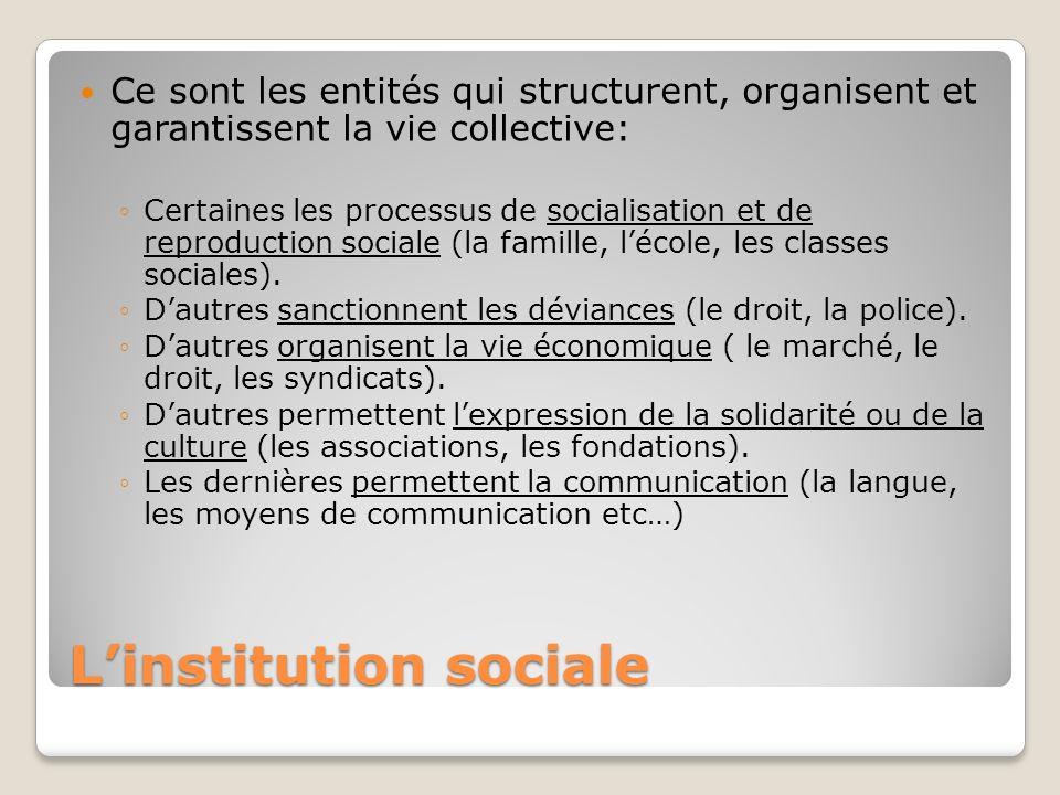 Linstitution sociale Ce sont les entités qui structurent, organisent et garantissent la vie collective: Certaines les processus de socialisation et de