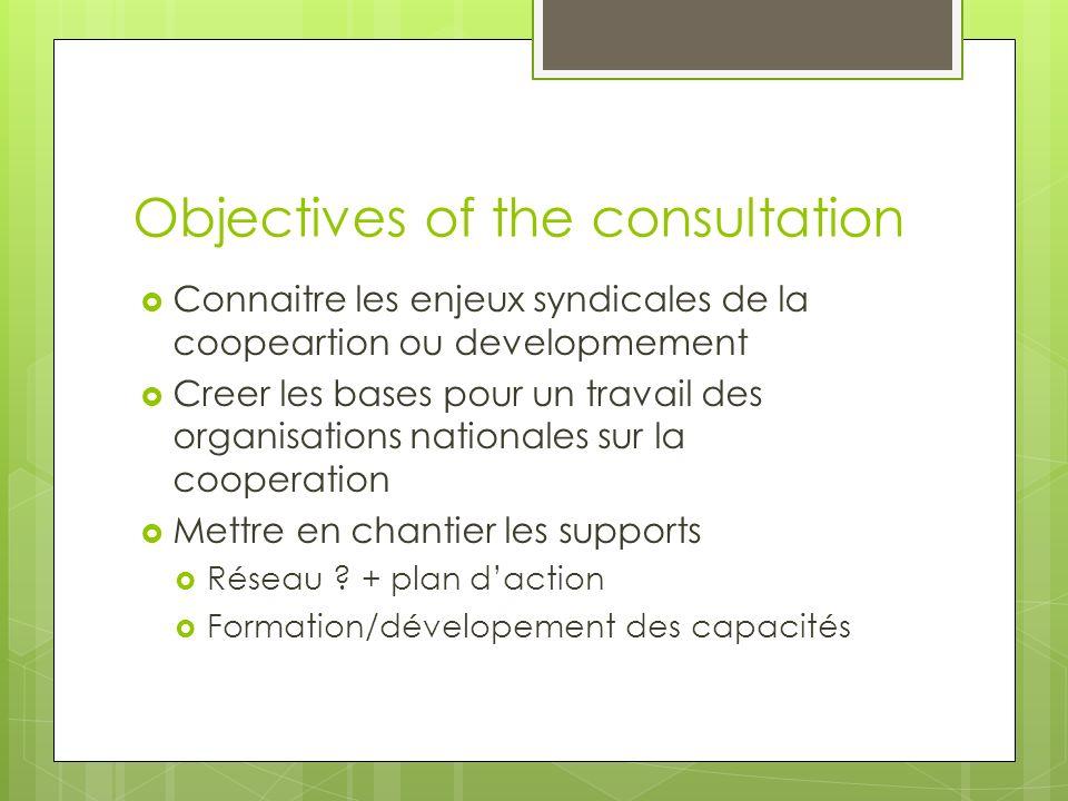 Objectives of the consultation Connaitre les enjeux syndicales de la coopeartion ou developmement Creer les bases pour un travail des organisations nationales sur la cooperation Mettre en chantier les supports Réseau .