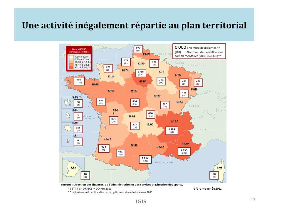 Une activité inégalement répartie au plan territorial IGJS 12 référence année 2011