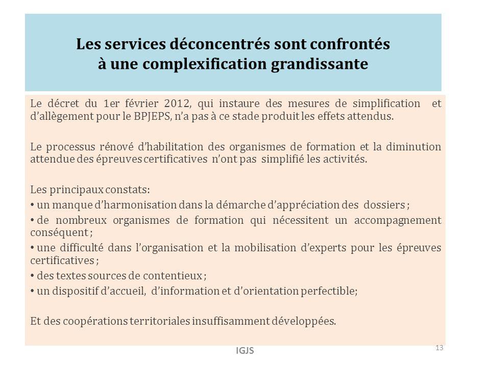 Les services déconcentrés sont confrontés à une complexification grandissante Le décret du 1er février 2012, qui instaure des mesures de simplification et dallègement pour le BPJEPS, na pas à ce stade produit les effets attendus.