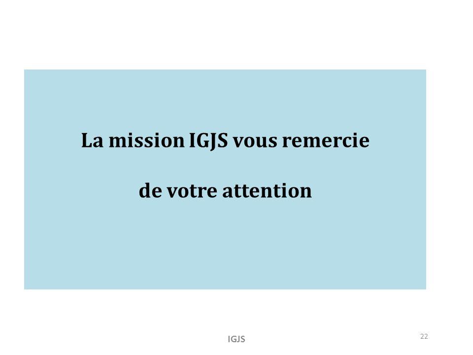 La mission IGJS vous remercie de votre attention IGJS 22