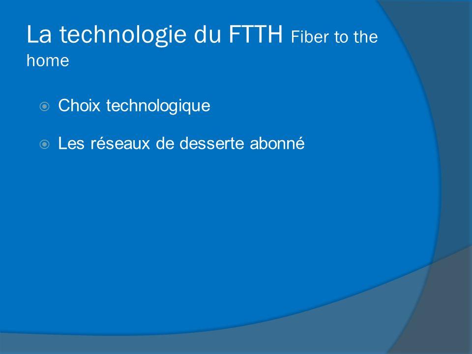 La technologie du FTTH Fiber to the home Choix technologique Les réseaux de desserte abonné