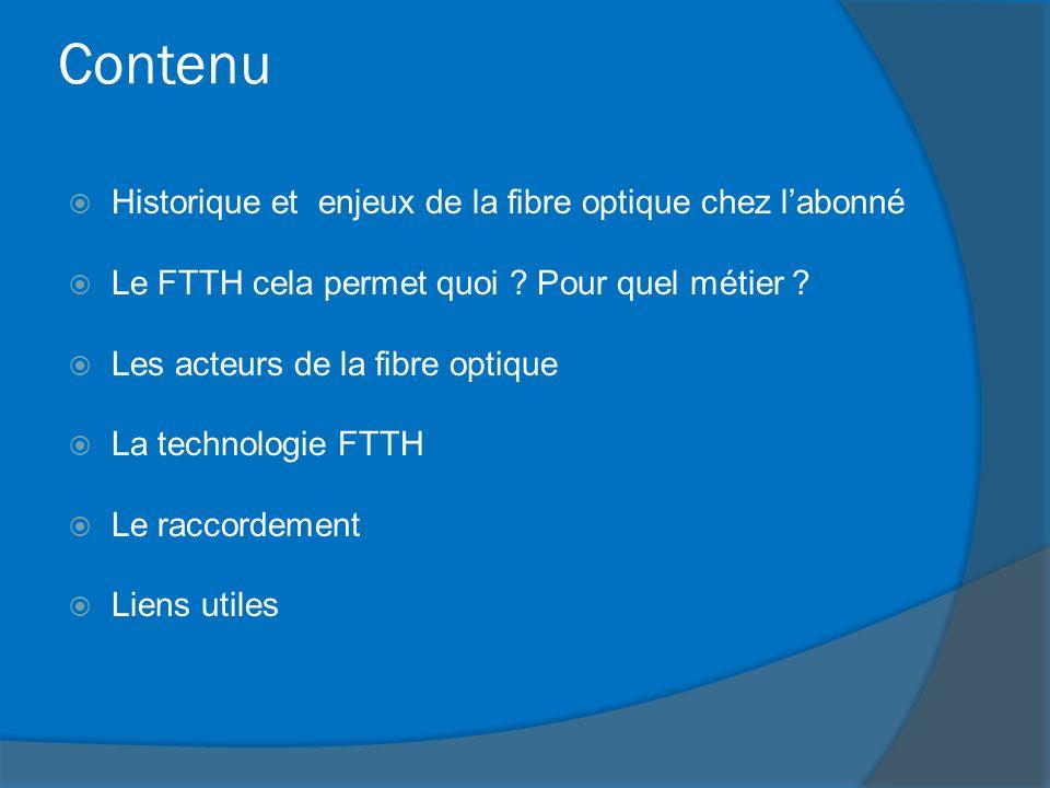 Contenu Historique et enjeux de la fibre optique chez labonné Le FTTH cela permet quoi ? Pour quel métier ? Les acteurs de la fibre optique La technol