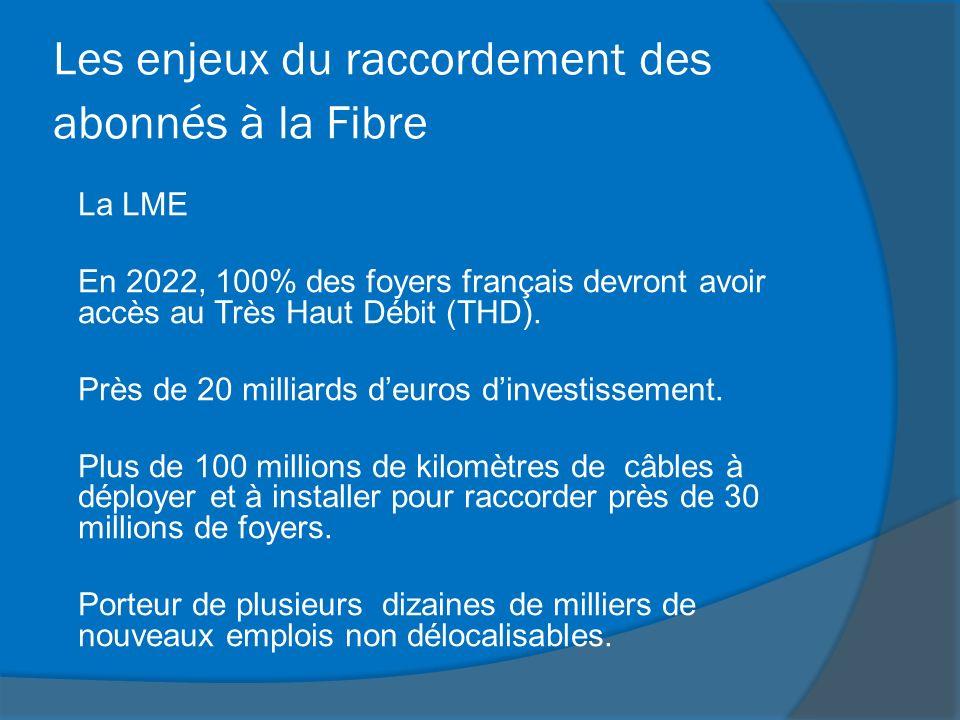 Les enjeux du raccordement des abonnés à la Fibre La LME En 2022, 100% des foyers français devront avoir accès au Très Haut Débit (THD). Près de 20 mi