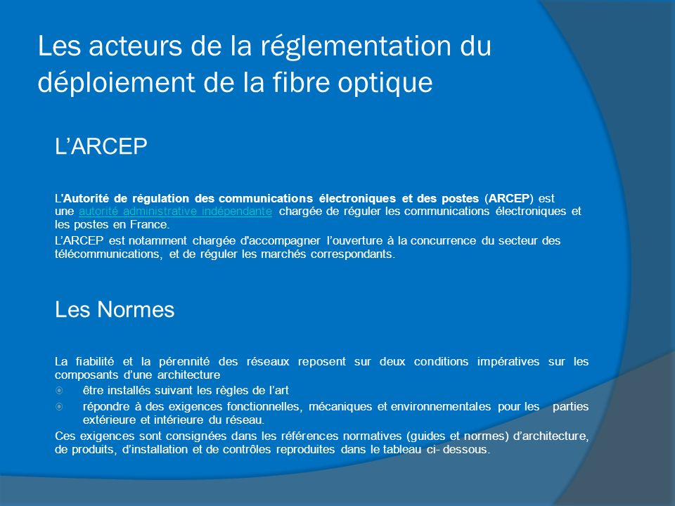 Les acteurs de la réglementation du déploiement de la fibre optique LARCEP L'Autorité de régulation des communications électroniques et des postes (AR