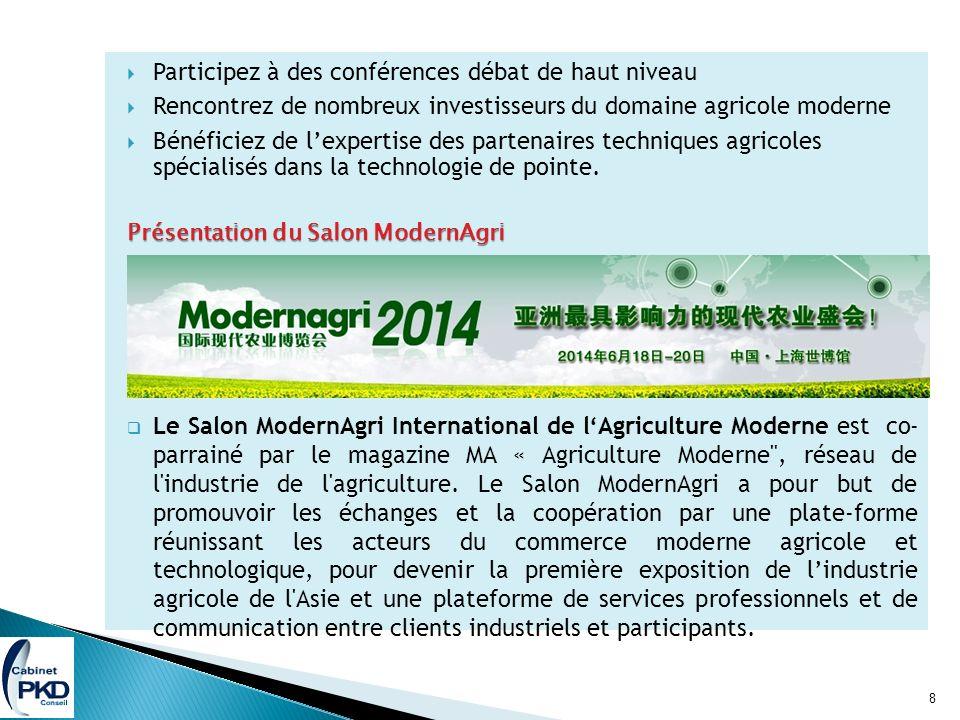 Participez à des conférences débat de haut niveau Rencontrez de nombreux investisseurs du domaine agricole moderne Bénéficiez de lexpertise des partenaires techniques agricoles spécialisés dans la technologie de pointe.