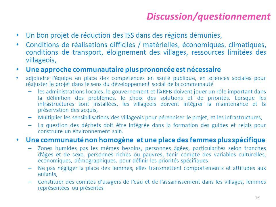 Discussion/questionnement Un bon projet de réduction des ISS dans des régions démunies, Conditions de réalisations difficiles / matérielles, économiqu