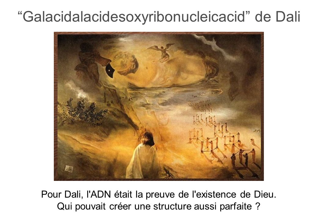 Galacidalacidesoxyribonucleicacid de Dali Pour Dali, l ADN était la preuve de l existence de Dieu.