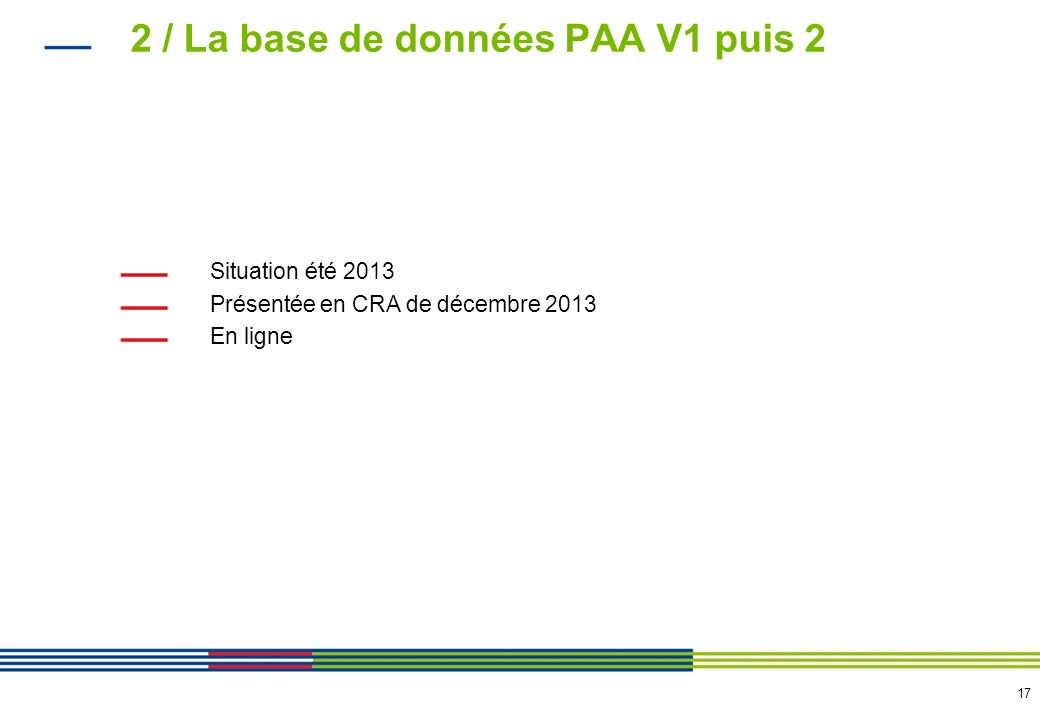 17 2 / La base de données PAA V1 puis 2 Situation été 2013 Présentée en CRA de décembre 2013 En ligne