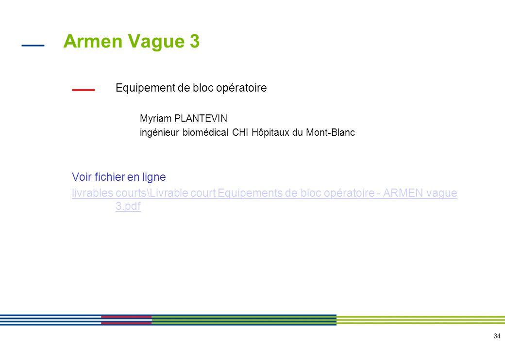 34 Armen Vague 3 Equipement de bloc opératoire Myriam PLANTEVIN ingénieur biomédical CHI Hôpitaux du Mont-Blanc Voir fichier en ligne livrables courts